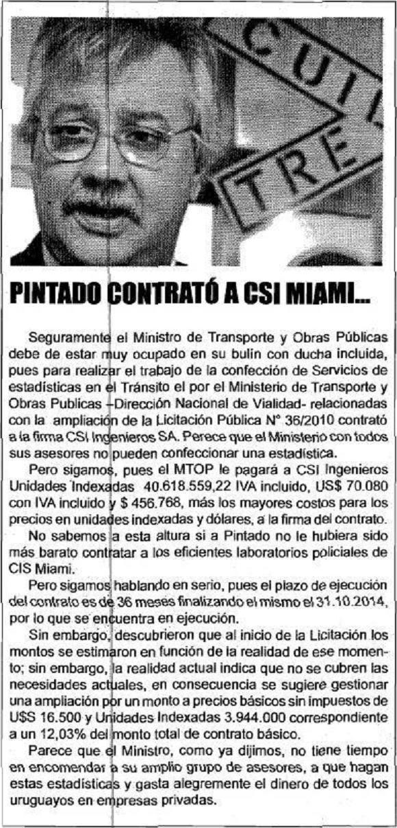 PINTADO CONTRATO A CSI MIAMI